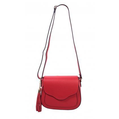 Bags and More Adele Piros Női Bőr Oldaltáska