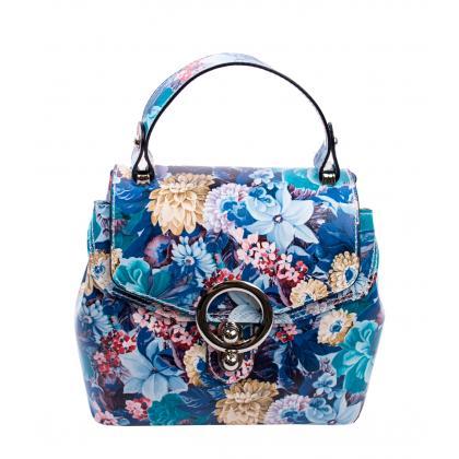 Bags and more Arabella Kék-virágos Női Bőr Kézitáska