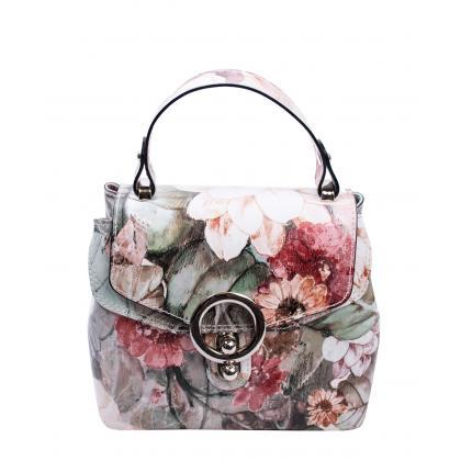 Bags and more Arabella Zöld-virágos Női Bőr Kézitáska