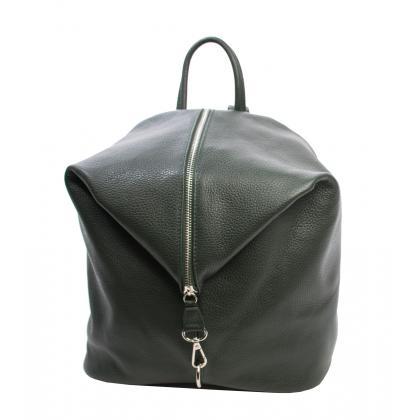 Bags and more Aria Sötét zöld Női Bőr Hátizsák