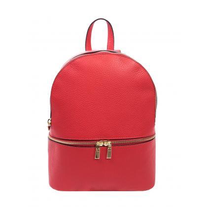 Bags and More Charlotte Piros Női Bőr Hátizsák