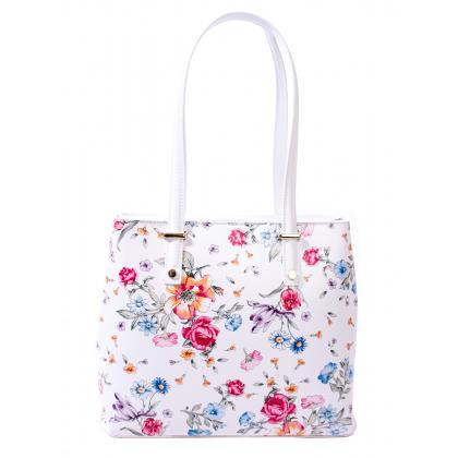 Bags and more Donnylyn Fehér-Virágos Női Bőr Válltáska