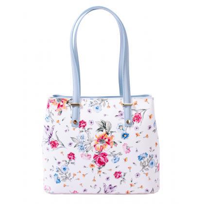 Bags and more Donnylyn Világos kék-Virágos Női Bőr Válltáska