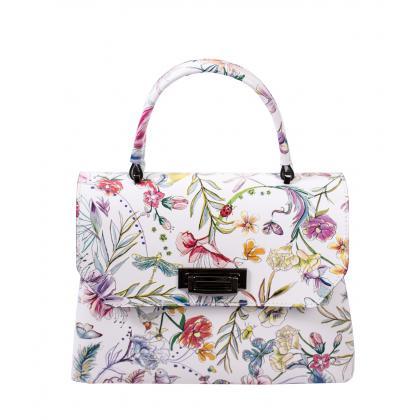 Bags and more Eve Fehér Virágmintás Bőr Női Kézitáska