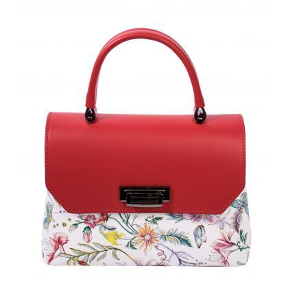 Bags and more Eve Piros Virágmintás Bőr Női Kézitáska