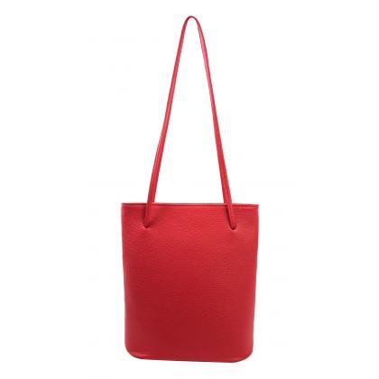 Bags and more Eveline Piros Női Bőr Válltáska
