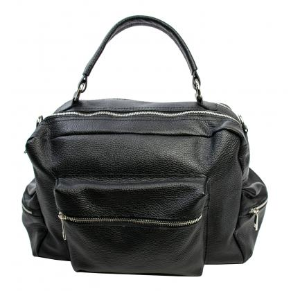 Bags and more Roni Fekete Bőr Utazótáska