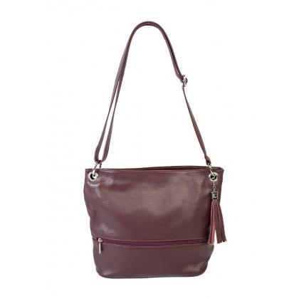 Bags and more Fina Burgundi Női Bőr Válltáska