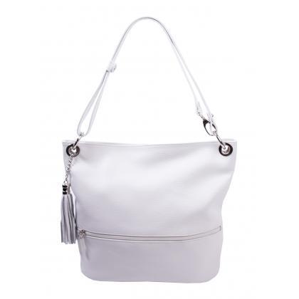Bags and more Fina Fehér Női Bőr Válltáska