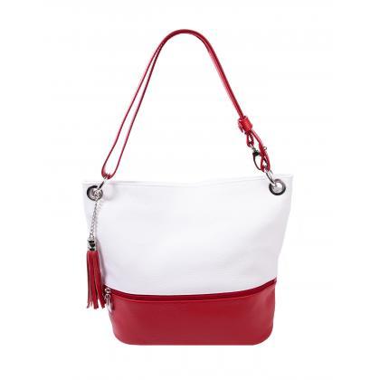 Bags and more Fina Fehér-Piros Női Bőr Válltáska