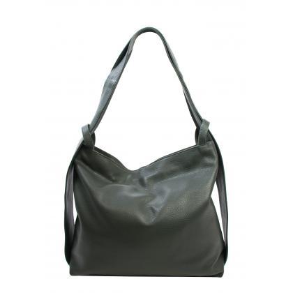 Bags and more Gilda Sötétzöld Női Bőr Váll és Hátitáska