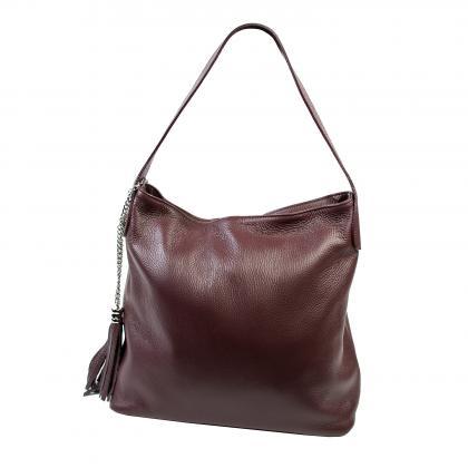 Bags and more Morella Burgundi Női Bőr Válltáska