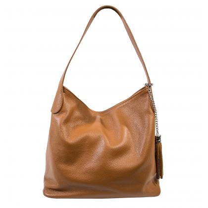 Bags and more Morella Világos barna Női Bőr Válltáska