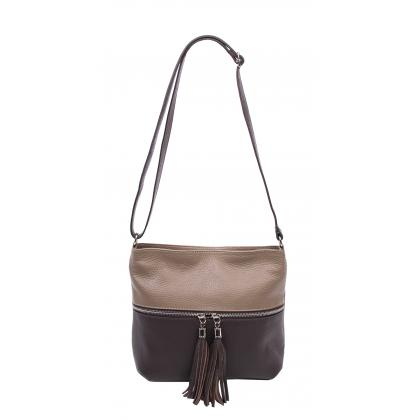 Bags and more Myra Homok-Sötét barna Női Bőr Oldaltáska