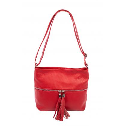 Bags and more Myra Piros Női Bőr Oldaltáska