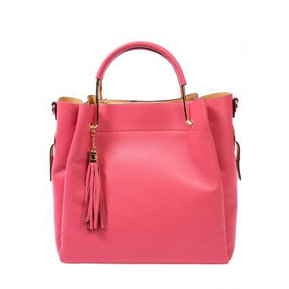 Bags and more Tulipy Pink Női Bőr Kézitáska