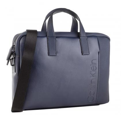 Calvin Klein Elevanted Logo Slim Laptop Bag Kék Férfi Laptoptáska
