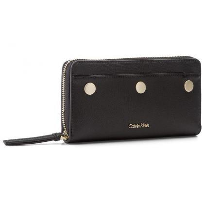 Calvin Klein Le4 Large Ziparound Fekete Női Pénztárca