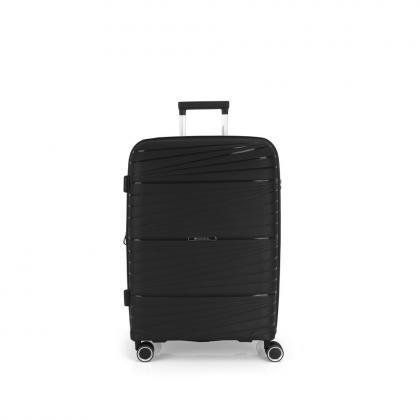 Gabol Kiba 4 Kerekes Fekete Közepes Bővíthető Bőrönd