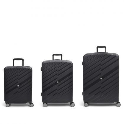 Gabol Sendai 4 Kerekes Fekete Bőrönd Szett
