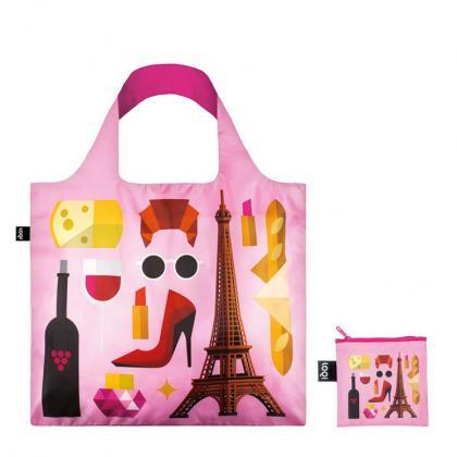 Loqi Paris Rózsaszín Női Bevásárlótáska