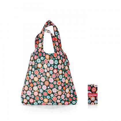 Reisenthel Mini Maxi Shopper Happy Flowers Fekete Virágos Bevásárlótáska