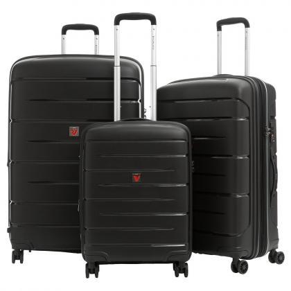 Roncato Flight DLX Bővíthető Fekete Bőrönd Szett