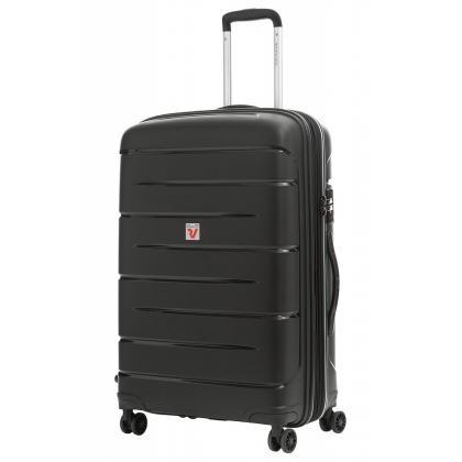 Roncato Flight DLX Bővíthető Fekete M Keményfedeles bőrönd