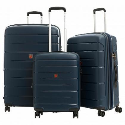 Roncato Flight DLX Bővíthető Sötétkék Bőrönd Szett