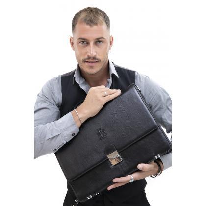 Rosme Tumble 3 Rekeszes Fekete Férfi Bőr Akta és Laptoptáska