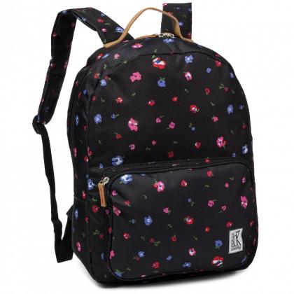 The Pack Society Classic Backpack Black flower Fekete Hátizsák