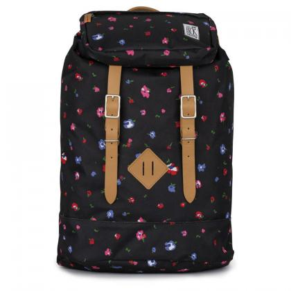 The Pack Society Premium Backpack Black flower Fekete Hátizsák