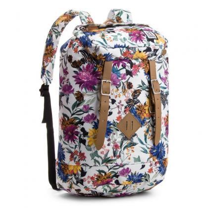 The Pack Society Premium Backpack Multicolor Flower Allover Fehér Unisex Hátizsák
