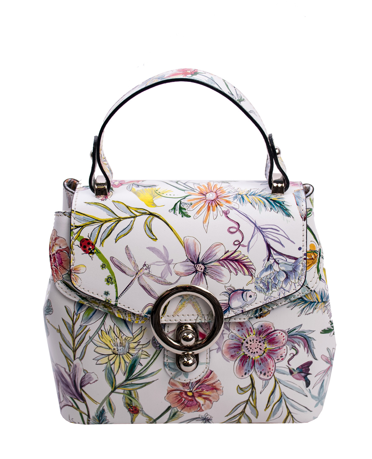 Bags and more Arabella Fehér virágos Női Bőr Kézitáska