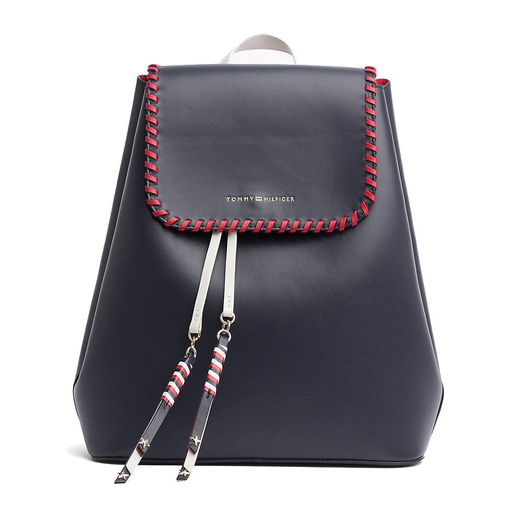 1c0edf4c8a Tommy Hilfiger Stitch Leather Backpack Kék Női Hátizsák